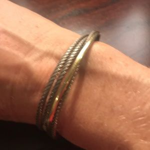 David Yurman stacked gold and silver bracelet